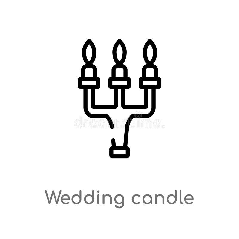 symbol för vektor för översiktsbröllopstearinljus isolerad svart enkel linje best?ndsdelillustration fr?n begrepp f?r f?delsedagp royaltyfri illustrationer