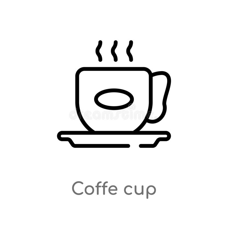 symbol för vektor för översiktscoffekopp isolerad svart enkel linje beståndsdelillustration från matbegrepp redigerbar kopp för v stock illustrationer