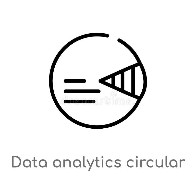 symbol för vektor för översiktsdataanalytics rund isolerad svart enkel linje beståndsdelillustration från användargränssnittbegre royaltyfri illustrationer