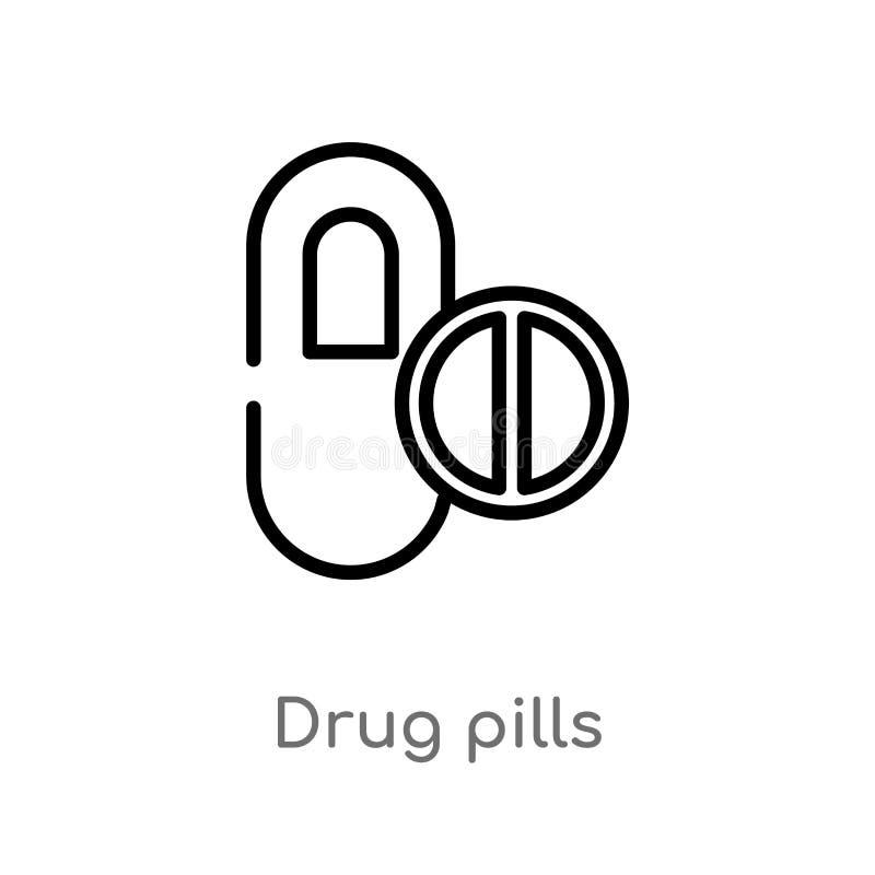 symbol för vektor för översiktsdrogpiller isolerad svart enkel linje beståndsdelillustration från medicinskt begrepp redigerbar v stock illustrationer