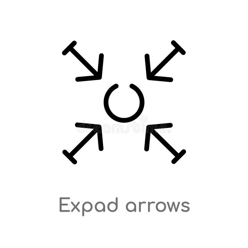 symbol för vektor för översiktsexpadpilar isolerad svart enkel linje beståndsdelillustration från pilbegrepp Redigerbar vektorsla royaltyfri illustrationer