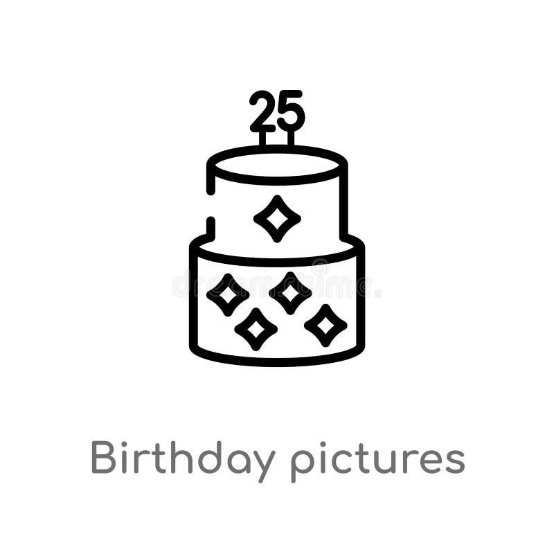 symbol för vektor för översiktsfödelsedagbilder isolerad svart enkel linje beståndsdelillustration från partibegrepp Redigerbar v vektor illustrationer