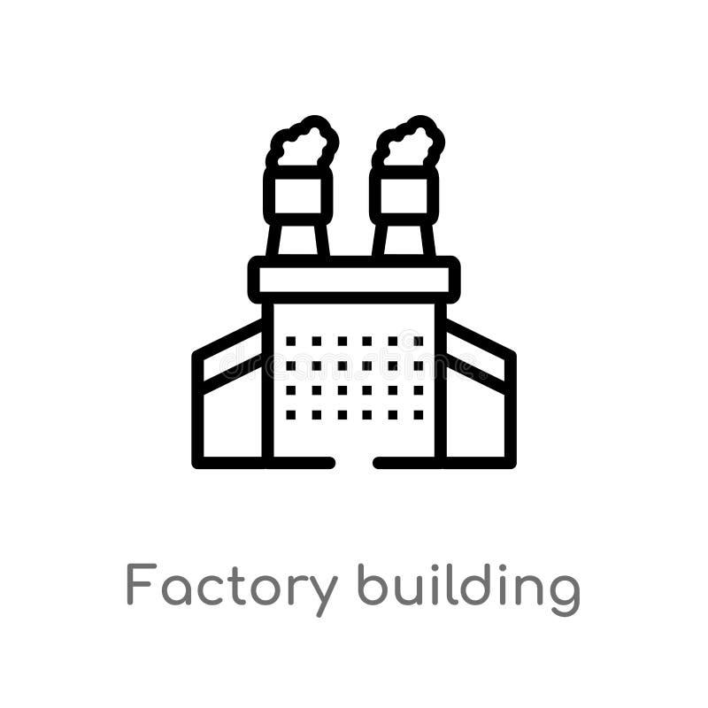 symbol för vektor för översiktsfabriksbyggnad isolerad svart enkel linje beståndsdelillustration från branschbegrepp Redigerbar v royaltyfri illustrationer
