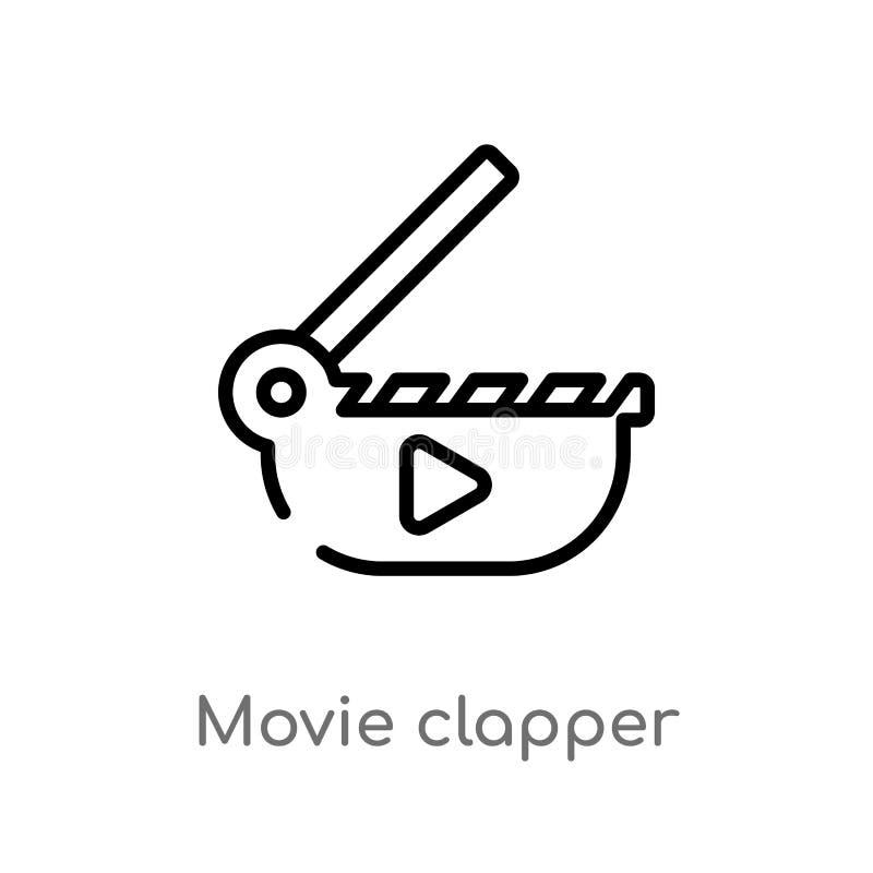 symbol för vektor för översiktsfilmclapper isolerad svart enkel linje beståndsdelillustration från biobegrepp Redigerbar vektorsl stock illustrationer