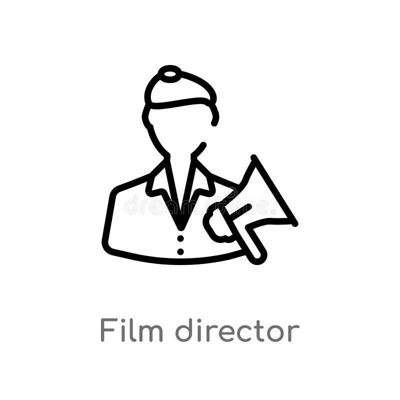 symbol för vektor för översiktsfilmdirektör isolerad svart enkel linje best?ndsdelillustration fr?n biobegrepp Redigerbar vektors royaltyfri illustrationer