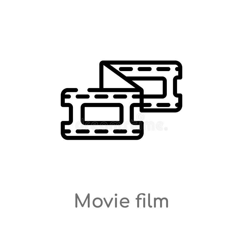 symbol för vektor för översiktsfilmfilm isolerad svart enkel linje beståndsdelillustration från biobegrepp redigerbar vektorslagl royaltyfri illustrationer