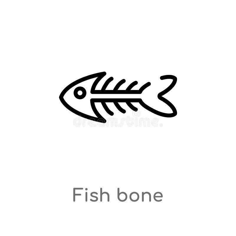 symbol f?r vektor f?r ?versiktsfiskben isolerad svart enkel linje best?ndsdelillustration fr?n djurbegrepp redigerbar vektorslagl vektor illustrationer