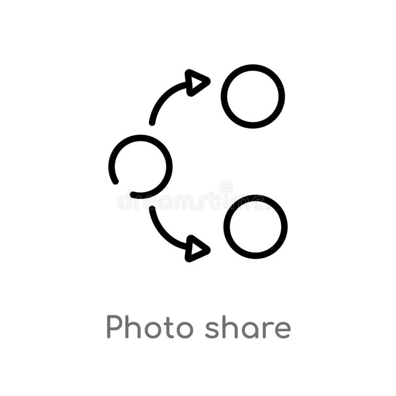 symbol för vektor för översiktsfotoaktie isolerad svart enkel linje beståndsdelillustration från socialt massmedia som marknadsfö royaltyfri illustrationer