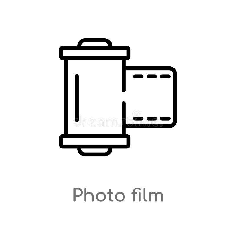 symbol för vektor för översiktsfotofilm isolerad svart enkel linje beståndsdelillustration från konstbegrepp redigerbart vektorsl stock illustrationer