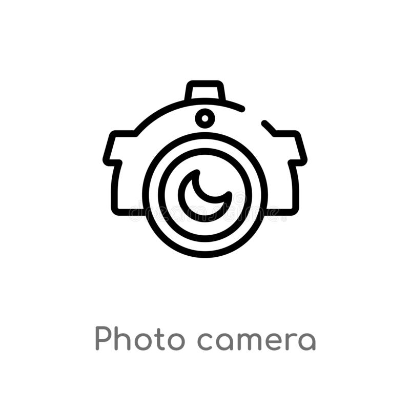 Symbol för vektor för översiktsfotokamera isolerad svart enkel linje beståndsdelillustration från braziliabegrepp Redigerbar vekt royaltyfri illustrationer