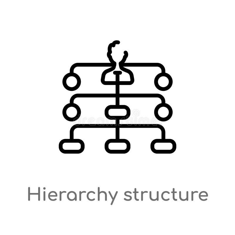 symbol för vektor för översiktshierarkistruktur isolerad svart enkel linje beståndsdelillustration från affärsidé Redigerbar vekt stock illustrationer