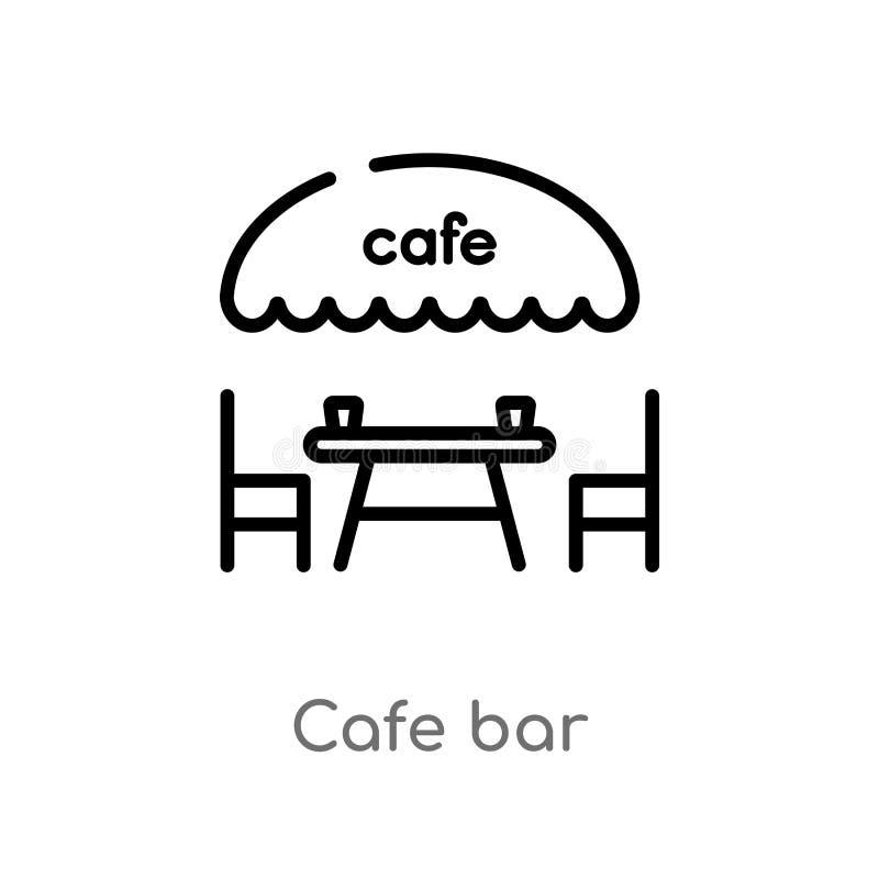 symbol för vektor för översiktskaféstång isolerad svart enkel linje beståndsdelillustration från matbegrepp redigerbar stång för  vektor illustrationer