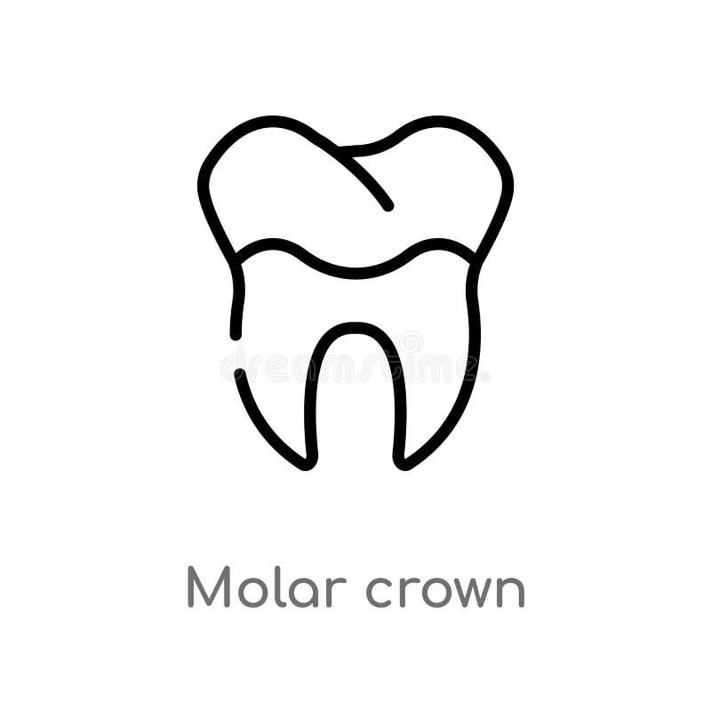 symbol för vektor för översiktskindtandkrona isolerad svart enkel linje beståndsdelillustration från tandläkarebegrepp Redigerbar royaltyfri illustrationer