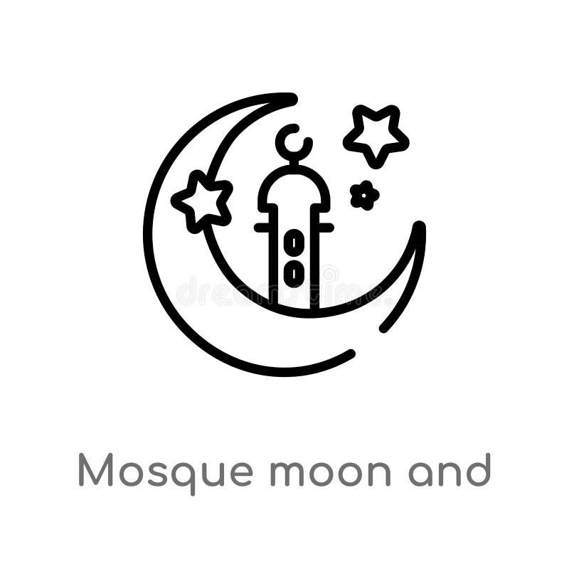 symbol för vektor för för översiktsmoskémåne och stjärna isolerad svart enkel linje beståndsdelillustration från annat begrepp Re vektor illustrationer