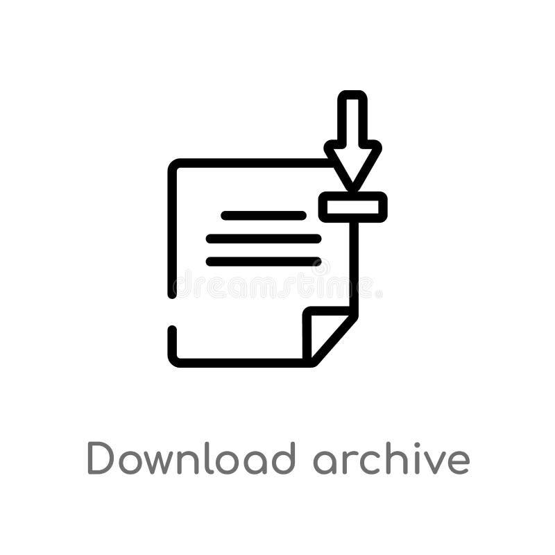 symbol för vektor för översiktsnedladdningarkiv isolerad svart enkel linje beståndsdelillustration från användargränssnittbegrepp royaltyfri illustrationer