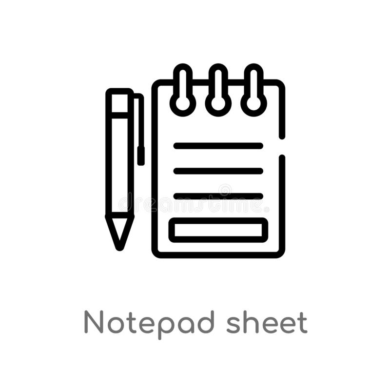 symbol för vektor för översiktsnotepadark isolerad svart enkel linje beståndsdelillustration från annat begrepp Redigerbar vektor royaltyfri illustrationer