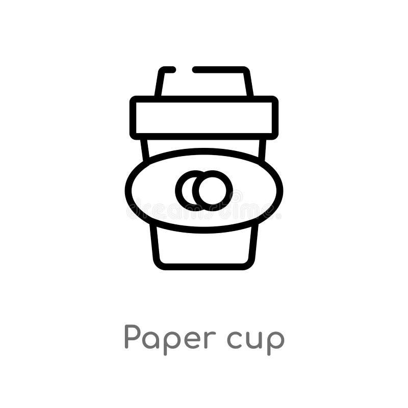 symbol för vektor för översiktspapperskopp isolerad svart enkel linje beståndsdelillustration från drinkbegrepp redigerbart vekto stock illustrationer