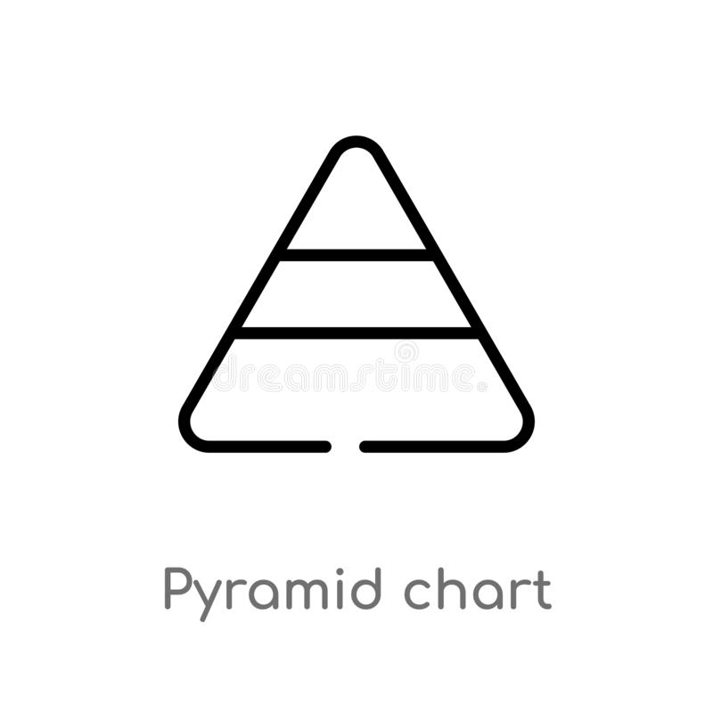 symbol för vektor för översiktspyramiddiagram isolerad svart enkel linje best?ndsdelillustration fr?n analyticsbegrepp Redigerbar vektor illustrationer