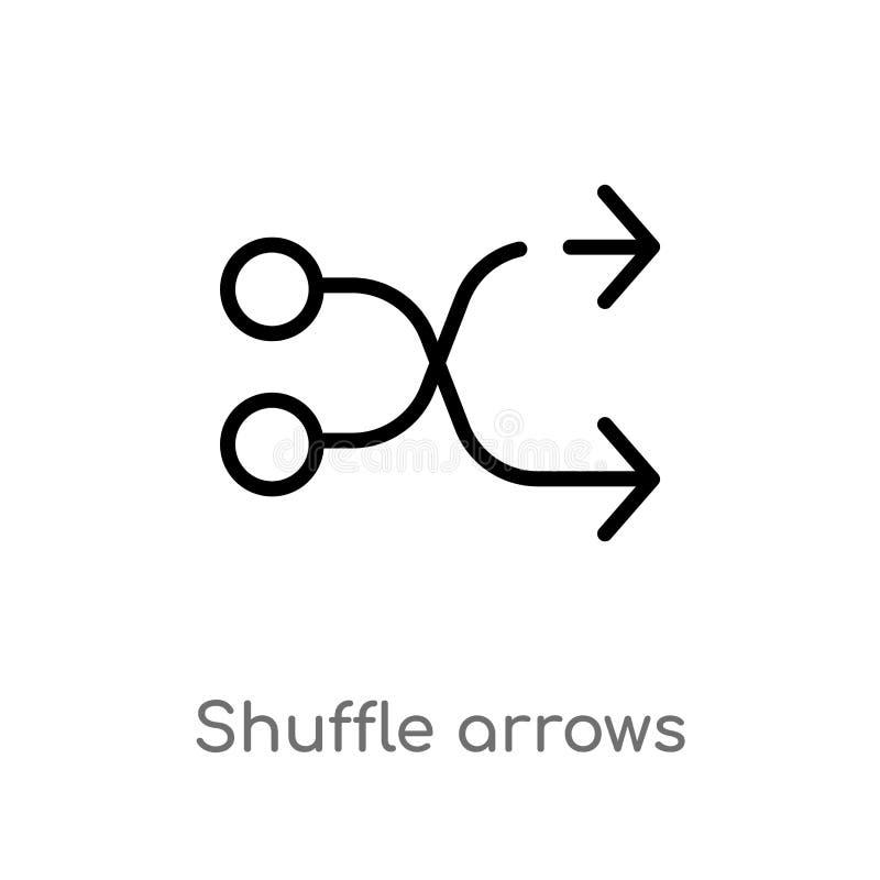 symbol för vektor för översiktsrörapilar isolerad svart enkel linje beståndsdelillustration från pilbegrepp Redigerbar vektorslag vektor illustrationer
