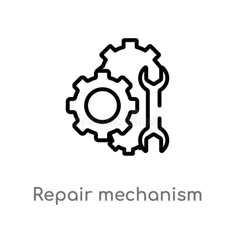 symbol för vektor för översiktsreparationsmekanism isolerad svart enkel linje best?ndsdelillustration fr?n mechaniconsbegrepp Red stock illustrationer