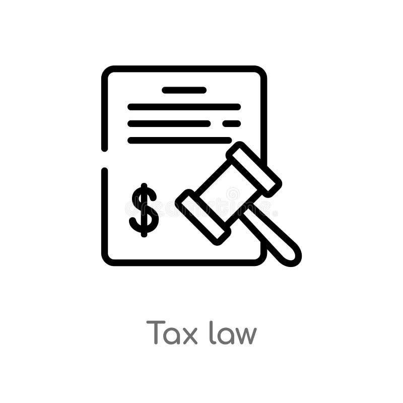 symbol för vektor för översiktsskattlag isolerad svart enkel linje beståndsdelillustration från lag- och rättvisabegrepp Redigerb stock illustrationer