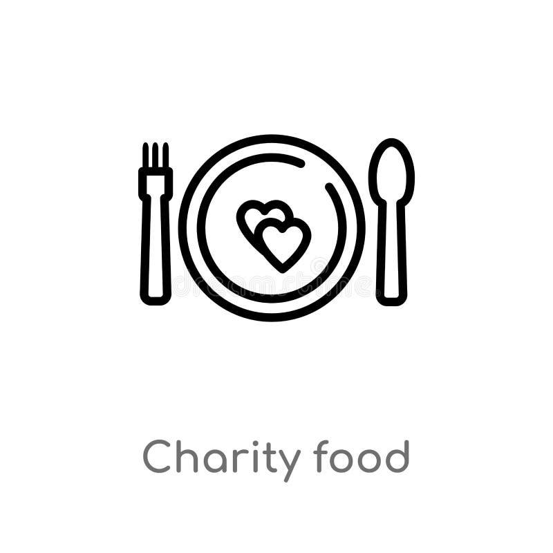 symbol för vektor för översiktsvälgörenhetmat isolerad svart enkel linje beståndsdelillustration från välgörenhetbegrepp Redigerb stock illustrationer