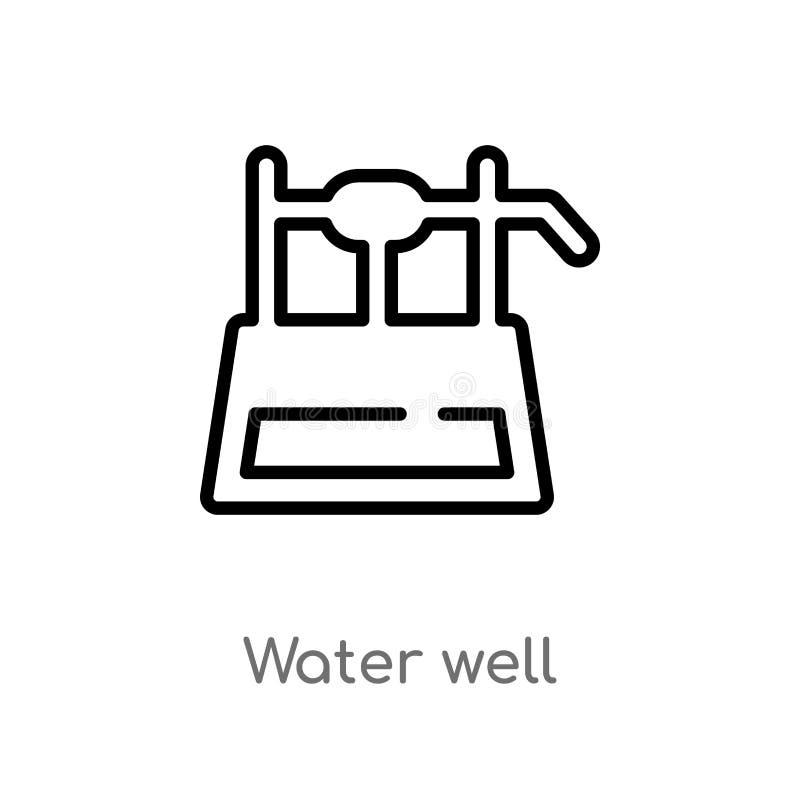 symbol för vektor för översiktsvattenbrunn isolerad svart enkel linje best?ndsdelillustration fr?n ?kerbrukt bruka begrepp Redige royaltyfri illustrationer