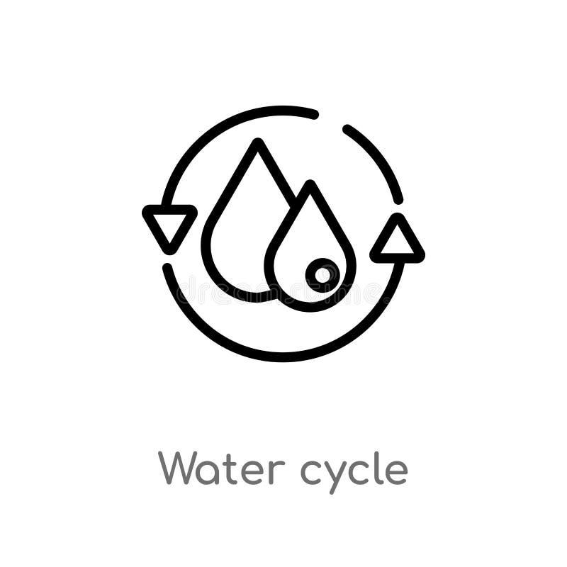 symbol för vektor för översiktsvattencirkulering isolerad svart enkel linje beståndsdelillustration från ekologibegrepp Redigerba stock illustrationer