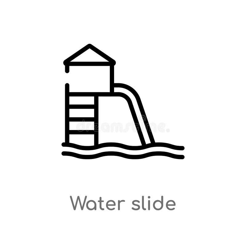 symbol för vektor för översiktsvattenglidbana isolerad svart enkel linje best?ndsdelillustration fr?n loppbegrepp redigerbart vek royaltyfri illustrationer