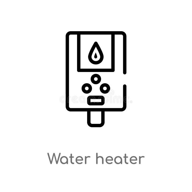 symbol för vektor för översiktsvattenvärmeapparat isolerad svart enkel linje beståndsdelillustration från hygienbegrepp Redigerba vektor illustrationer