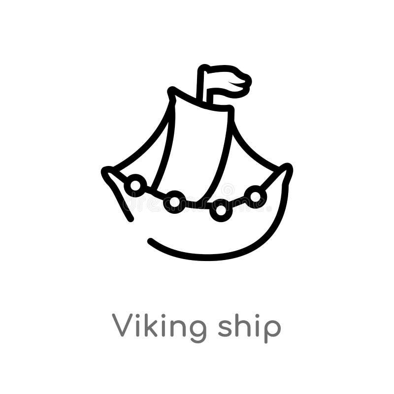 symbol f?r vektor f?r ?versiktsviking skepp isolerad svart enkel linje best?ndsdelillustration fr?n historiebegrepp Redigerbar ve royaltyfri illustrationer