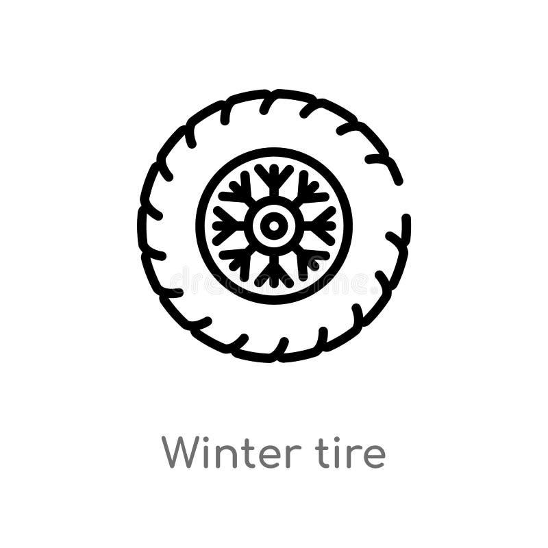 symbol för vektor för översiktsvintergummihjul isolerad svart enkel linje beståndsdelillustration från vinterbegrepp Redigerbar v royaltyfri illustrationer