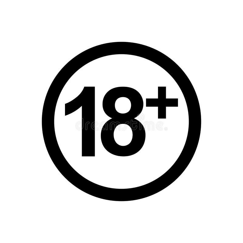 symbol för vektor 18+ royaltyfria bilder