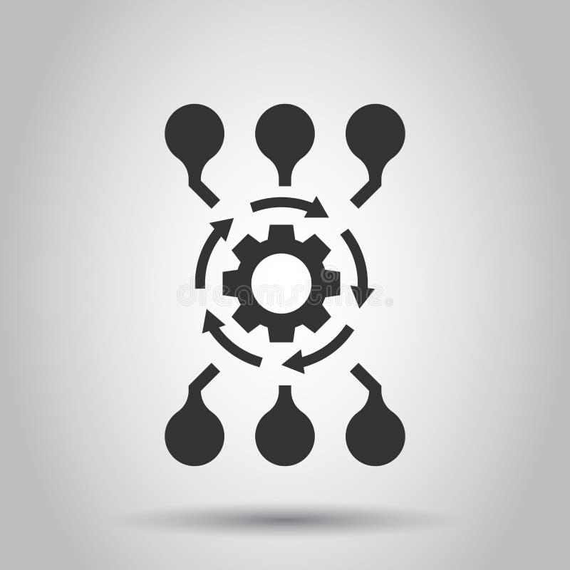 Symbol för vektor för algoritmapi-programvara i plan stil Affärskugghjul med pilillustrationen på vit bakgrund Algoritmbegrepp vektor illustrationer