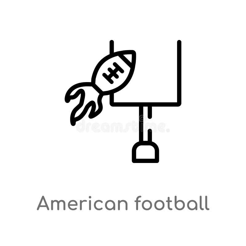 symbol för vektor för anteckning för amerikansk fotboll för översikt isolerad svart enkel linje beståndsdelillustration från begr royaltyfri illustrationer