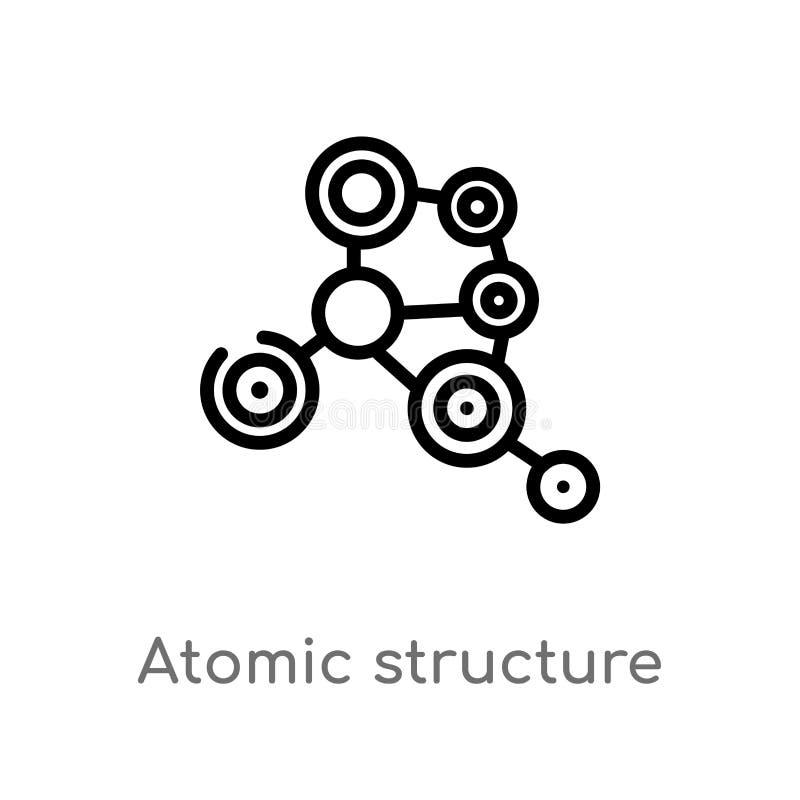 symbol för vektor för atom- struktur för översikt isolerad svart enkel linje beståndsdelillustration från medicinskt begrepp Redi royaltyfri illustrationer