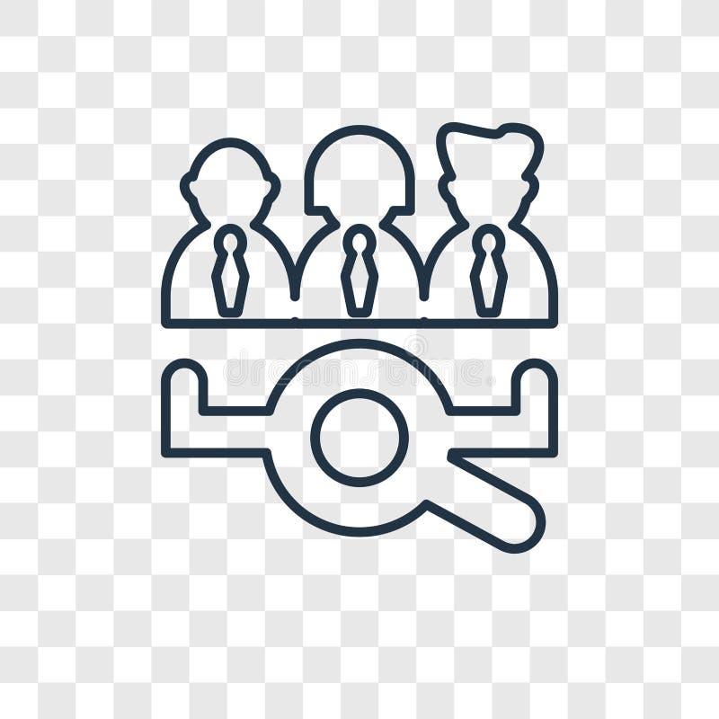 Symbol för vektor för begrepp för jobbsökande som linjär isoleras på genomskinliga lodisar royaltyfri illustrationer