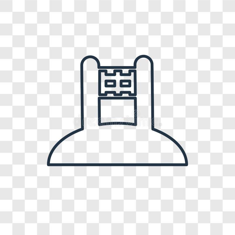 Symbol för vektor för begrepp för strandvolleyboll som linjär isoleras på transpar vektor illustrationer