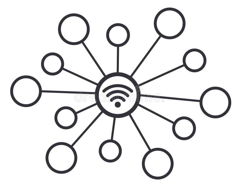 Symbol för symbol för vektor för begrepp för Wifi trådlöst anslutningsnätverk vektor illustrationer