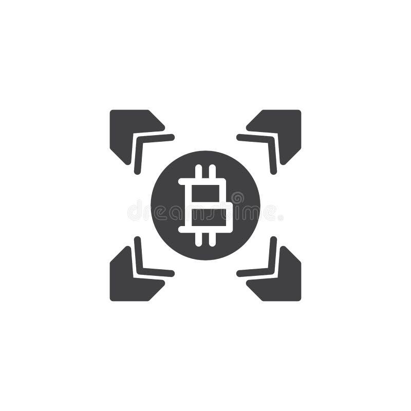 Symbol för vektor för Bitcoin överföringspilar stock illustrationer