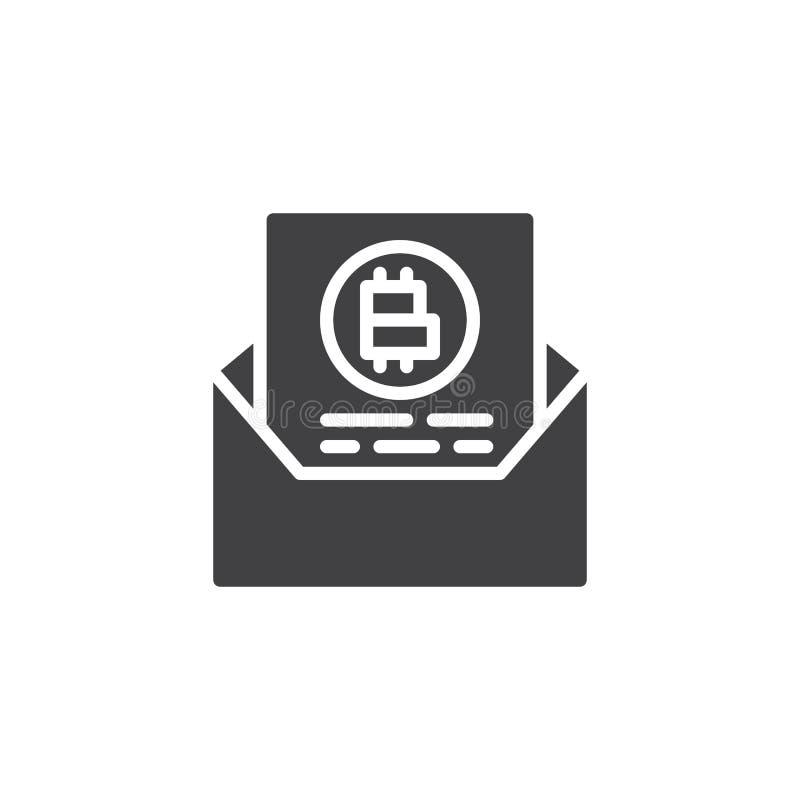 Symbol för vektor för Bitcoin avtalsmeddelande royaltyfri illustrationer