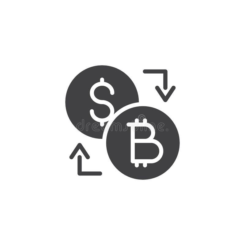 Symbol för vektor för Bitcoin dollarutbyte vektor illustrationer