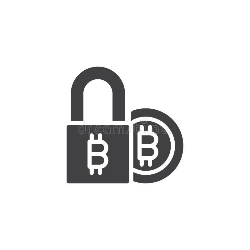 Symbol för vektor för Bitcoin elektronisk säkerhetslås royaltyfri illustrationer