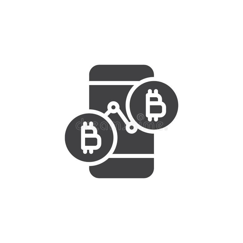 Symbol för vektor för Bitcoin prisdiagram royaltyfri illustrationer