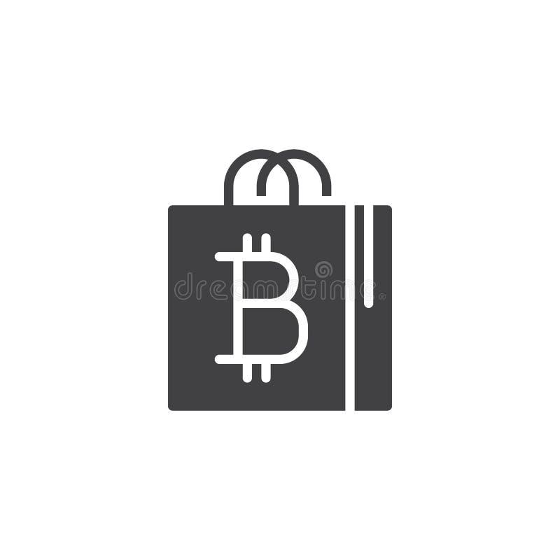 Symbol för vektor för Bitcoin shoppingpåse stock illustrationer