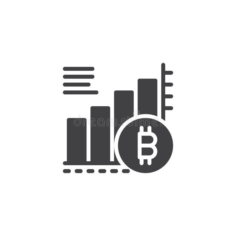 Symbol för vektor för Bitcoin växande grafdiagram royaltyfri illustrationer