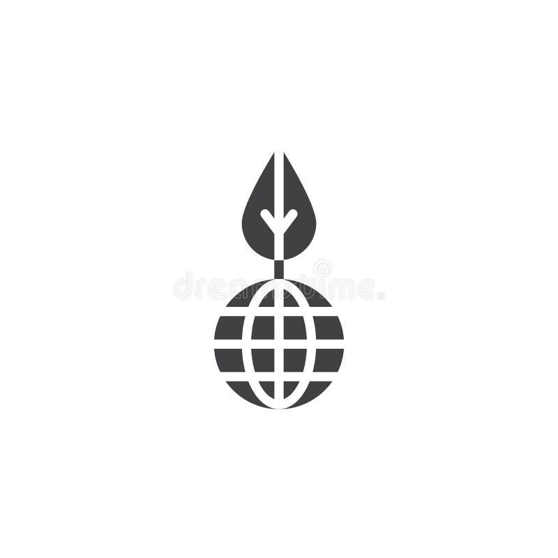 Symbol för vektor för blad för världsmiljö vektor illustrationer