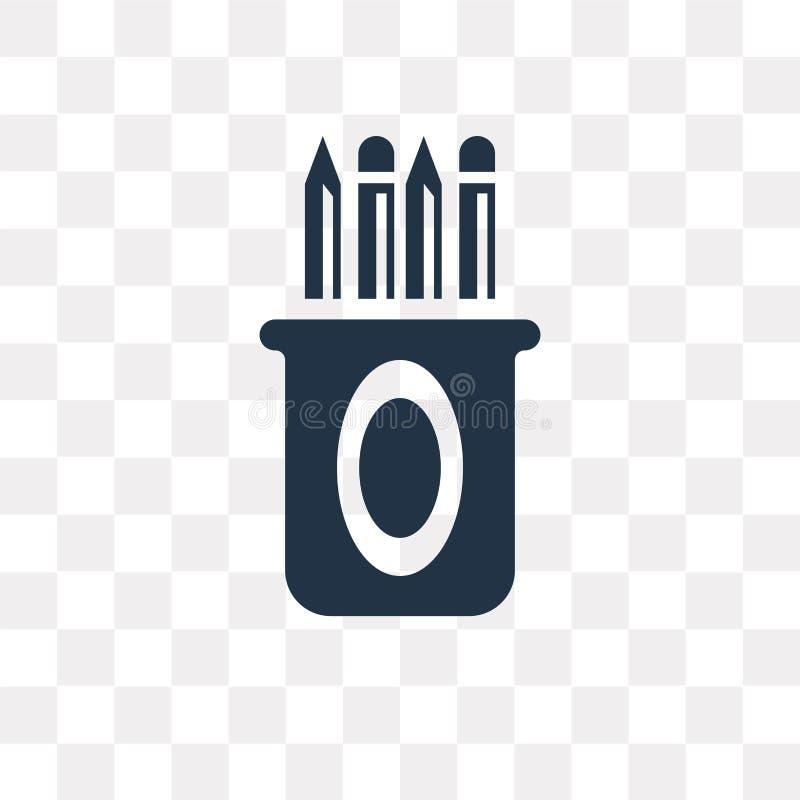 Symbol för vektor för blyertspennafall som isoleras på genomskinlig bakgrund, Penc stock illustrationer