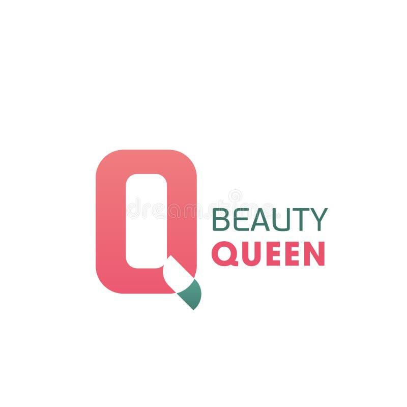 Symbol för vektor för bokstav för skönhetdrottning rosa Q stock illustrationer