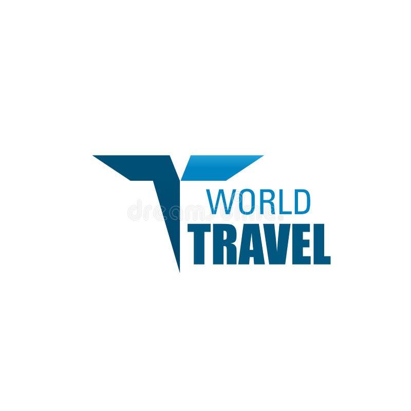 Symbol för vektor för bokstav T för världsloppbyrå royaltyfri illustrationer